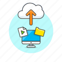 arrow, audio, cloud, computer, file, media, personal, upload icon