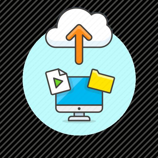 arrow, audio, cloud, computer, file, media, personal, upload icon