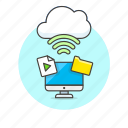 audio, cloud, computer, connection, file, media, wireless icon