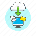 arrow, cloud, computer, download, file, html, personal, technology icon