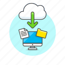 cloud, computer, download, file, folder, personal, arrow