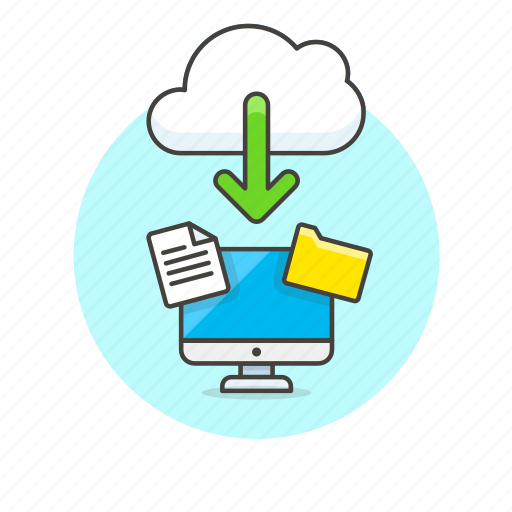 arrow, cloud, computer, download, file, folder, personal icon