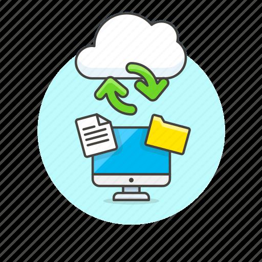 arrow, cloud, computer, file, folder, personal, sync, technology icon