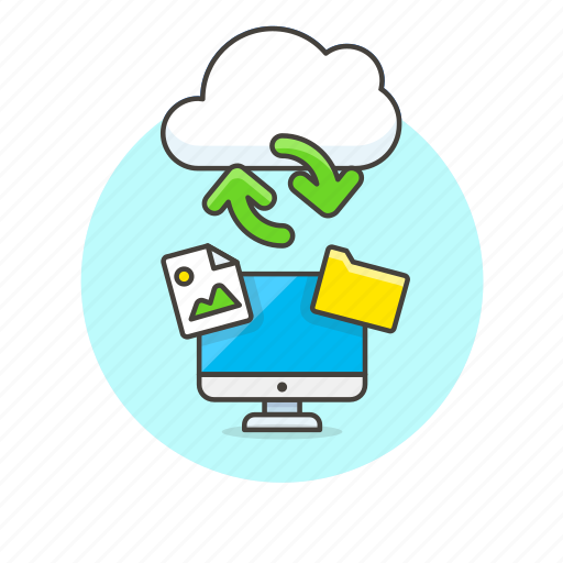 arrow, cloud, computer, file, image, personal, picture, sync icon