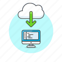 cloud, computer, computing, download, arrow, code, file