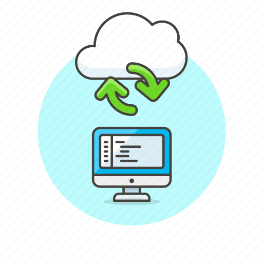 arrow, cloud, code, computer, file, personal, sync, technology icon