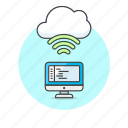 cloud, code, computer, connection, file, programming, wireless icon