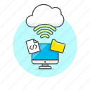 cloud, computer, connection, file, folder, html, personal, wireless icon