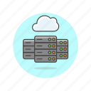 arrow, cloud, computing, database, file, server, technology icon
