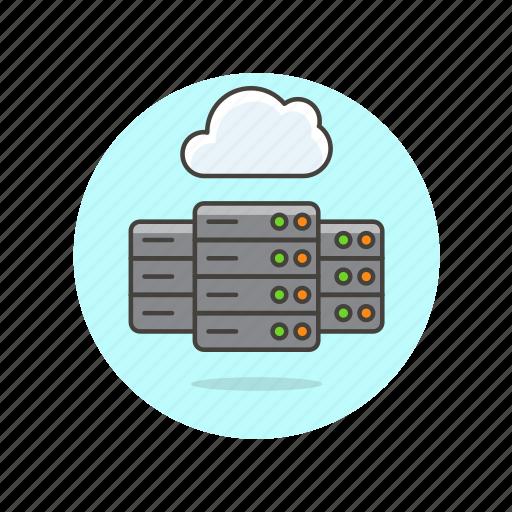 arrow, cloud, computing, database, file, server, technology icon