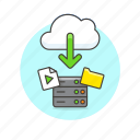 arrow, audio, cloud, download, file, media, server, technology icon