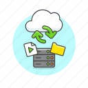 arrow, audio, cloud, file, media, server, sync, technology icon