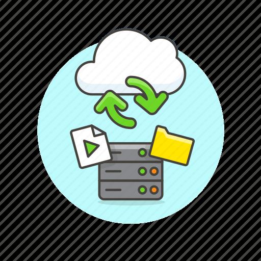 arrow, audio, cloud, file, media, server, sync, technology icon
