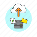 arrow, audio, cloud, file, media, send, server, upload icon