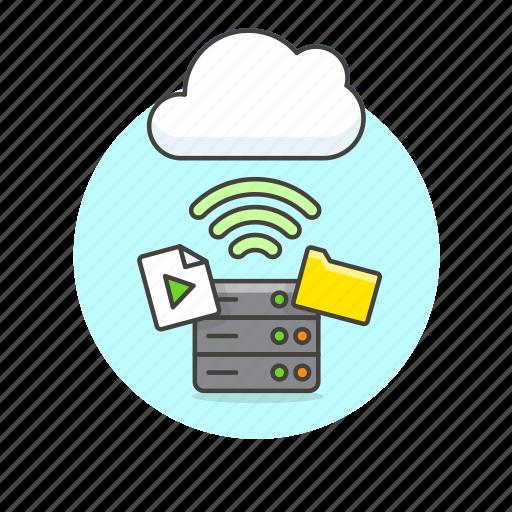 audio, cloud, connection, file, media, server, wifi, wireless icon