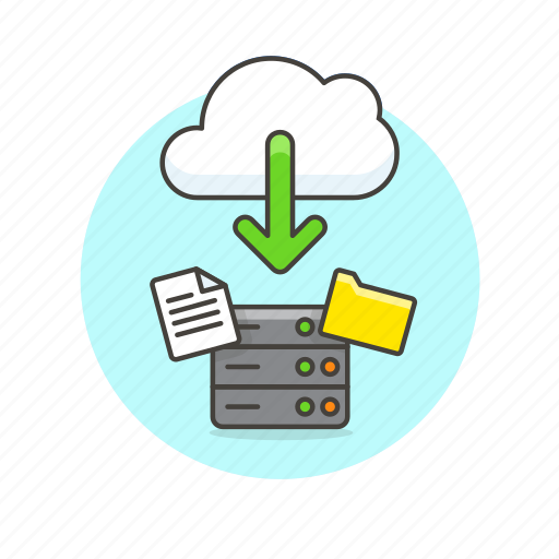 arrow, cloud, document, download, file, save, server, technology icon