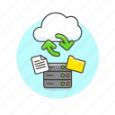 arrow, cloud, document, file, server, sync, technology icon