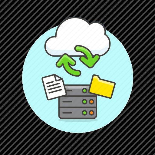 arrow, cloud, document, file, server, sync, technology icon