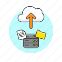 arrow, cloud, document, file, send, server, technology, upload icon