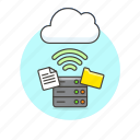 arrow, cloud, connection, document, file, server, technology, wireless icon
