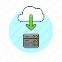 cloud, computing, download, server icon