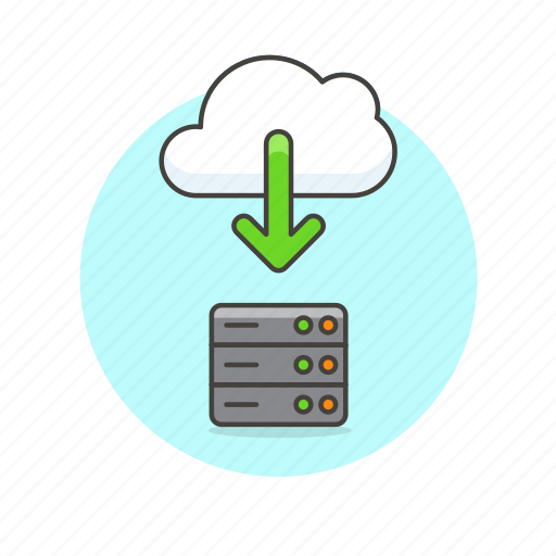 arrow, cloud, download, file, save, server, technology icon