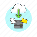 arrow, cloud, computing, download, file, html, server, technology icon