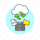 arrow, cloud, file, html, server, sync, technology icon