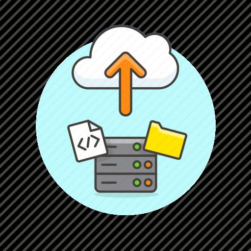 arrow, cloud, computing, file, html, server, technology, upload icon