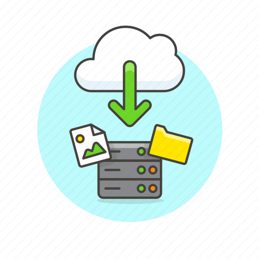 arrow, cloud, download, file, image, picture, server, technology icon