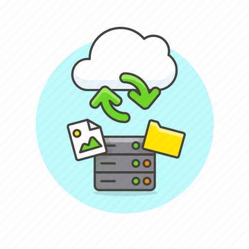 arrow, cloud, file, image, picture, server, sync, technology icon
