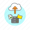 arrow, cloud, file, image, picture, server, technology, upload icon