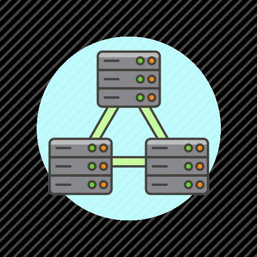 arrow, cloud, computing, file, network, server, share, technology icon