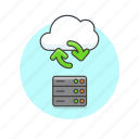 arrow, cloud, computing, file, server, sync, technology icon