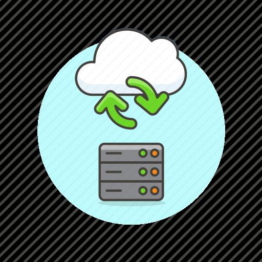 arrow, cloud, computing, file, server, sync, technology icon