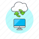 arrow, cloud, file, imac, monitor, server, synchronize, technology icon