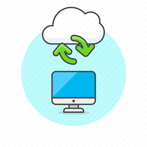 arrow, cloud, file, imac, monitor, server, synchronize, technology icon