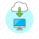 arrow, cloud, download, file, imac, save, technology icon