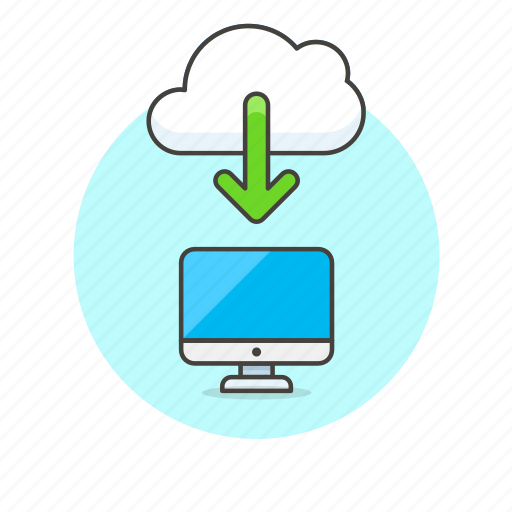 arrow, cloud, download, file, imac, save, technology icon