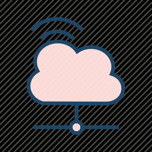 cloud computing, cloud network, cloud storage, internet, remote server, saas icon