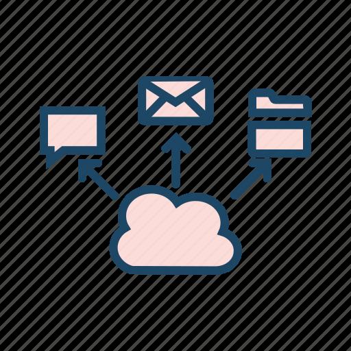 cloud application, cloud client, cloud server, cloud storage, hosting server icon