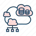 cloud backup, cloud computing, cloud database, cloud network, cloud server, hosting application, hosting server icon