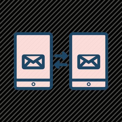 data exchange, data transfer, mail communication, mobile communication icon