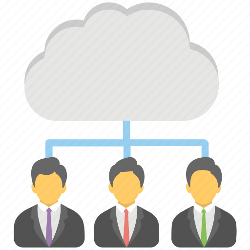 business network, cloud business community, remote employees, remote infrastructure management, remote workers icon