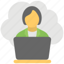 cloud based job, cloud businesswoman, cloud computing business, freelancer, remote employee icon