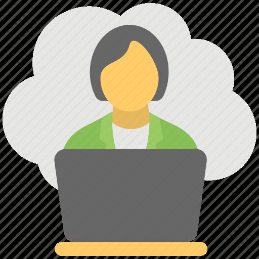 cloud based job, cloud businesswoman, cloud computing business, freelancer, remote employee icon