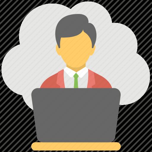 cloud based job, cloud businessman, cloud computing business, freelancer, remote employee icon