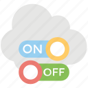 cloud access, cloud on/ off, cloud switch button, networking switch, wireless cloud connection icon