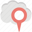 cloud based gps, cloud based navigation, cloud journey, cloud map pin, destination cloud icon
