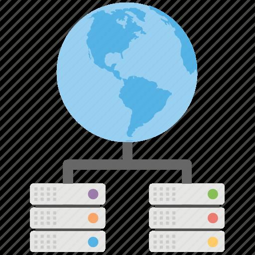 global database, global lan, global representing network, global server, global server hierarchy icon